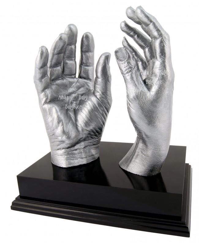 "Adult Hands Casting Kit with Black Display Plinth 8x6"" – Silver"