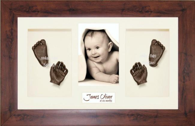 New Baby Casting Kit Gift, Mahogany effect frame, Bronze Hands Feet
