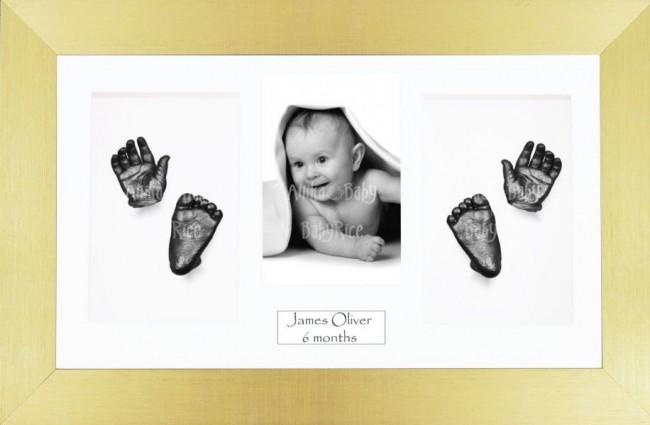 Baby Casting Kit / Gold Frame / White Photo Display / Pewter Paint