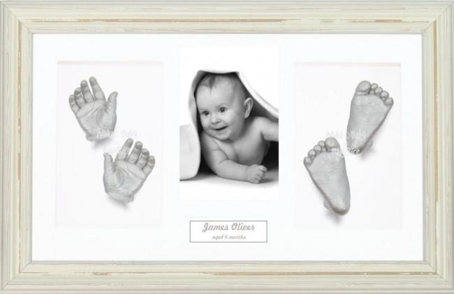 Baby Casting Kit / Shabby Chic Cream Frame / Silver Hand Foot Casts
