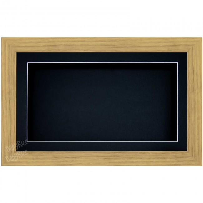 Large Deep Shadow Box Deep Frame Medium Oak effect, Black Inserts