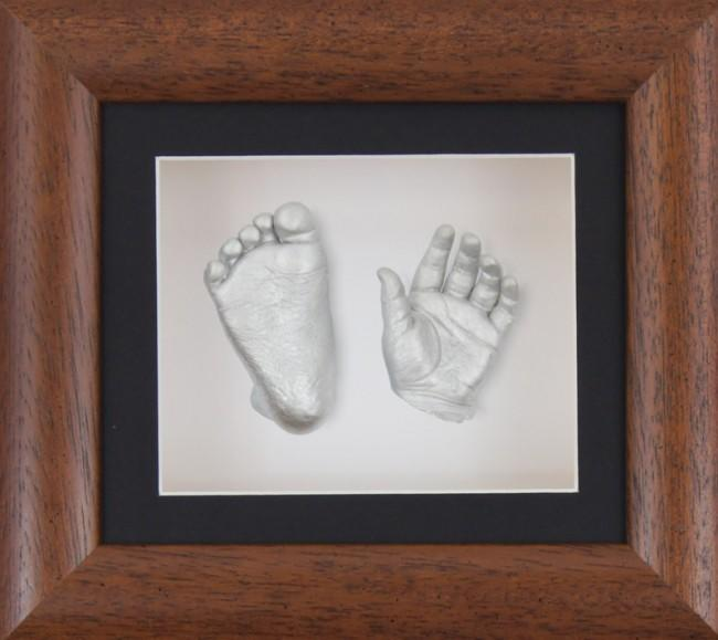 Baby Casting Kit Dark Wooden Frame Black White Display Silver