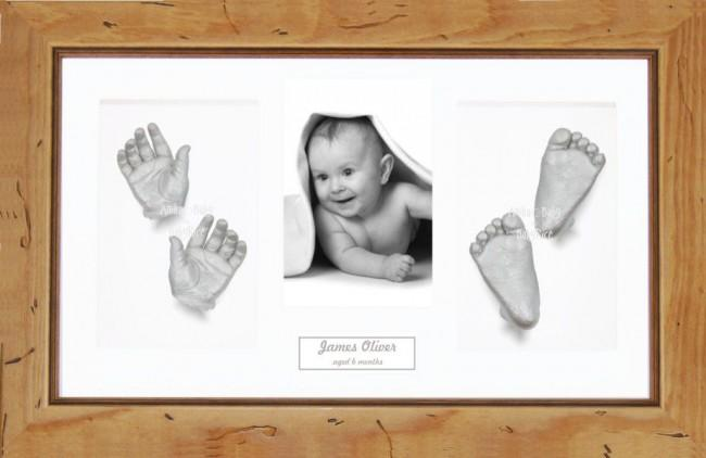 Large or Baby Twins Silver Hands Feet Casting Kit / Rustic Pine Frame
