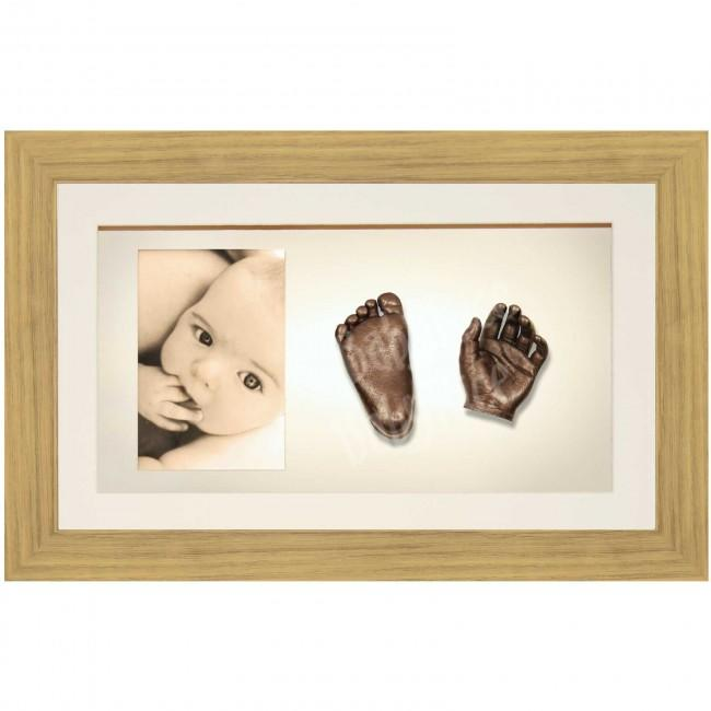 Large, Twins Baby Hand Foot Casting Kit / Oak Effect Frame / Bronze