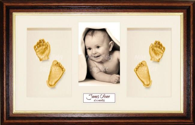 Handprint Footprint Casting, Large Mahogany Gold Frame, Gold Paint