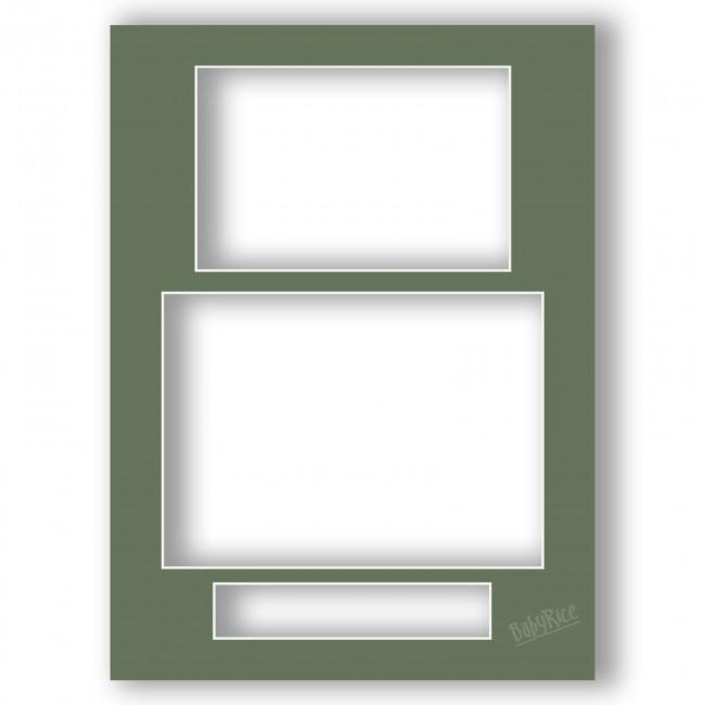 Three Aperture Picture Frame Mount 12x9 Inches (Portrait) - Putting Green