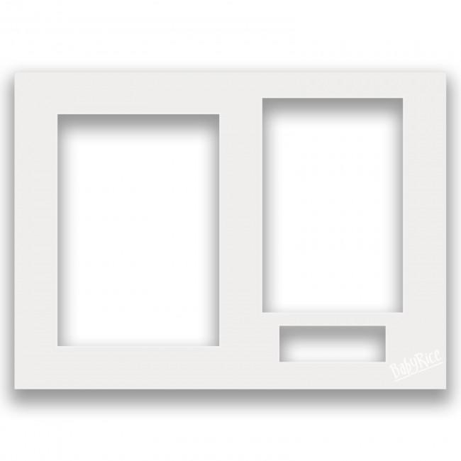 Three Aperture Picture Frame Mount 12x9 Inches - Milky White