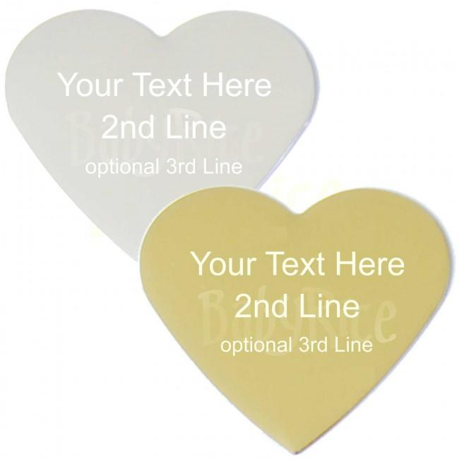 Silver or Gold Large Heart Plaque – Choose Blank or Personalised Engravin