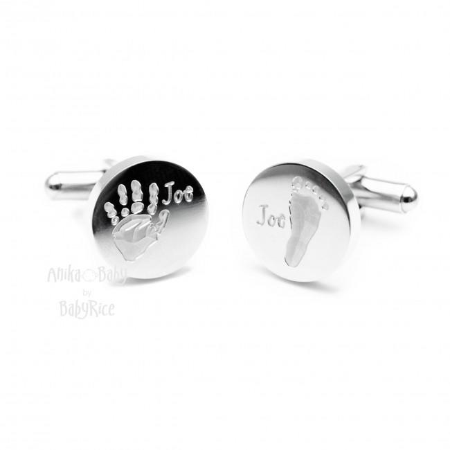 Personalised Men's Cufflinks Baby Handprint Footprint Circle Steel Initials 3 Max