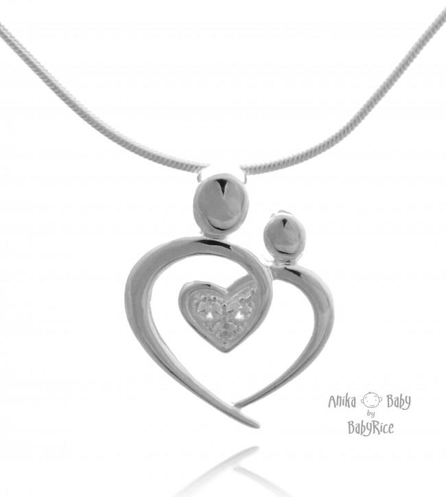 Sterling Silver CZ Heart Pendant Medium - Choose Chain