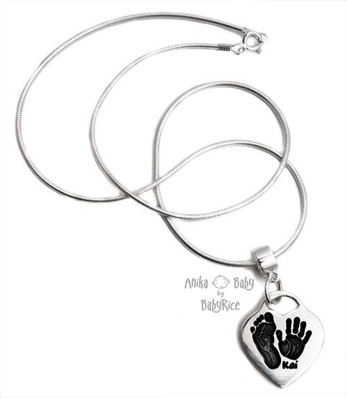 Baby Handprint Footprint Prints Jewelry Silver Heart Pendant on Chain Necklace (oxi)