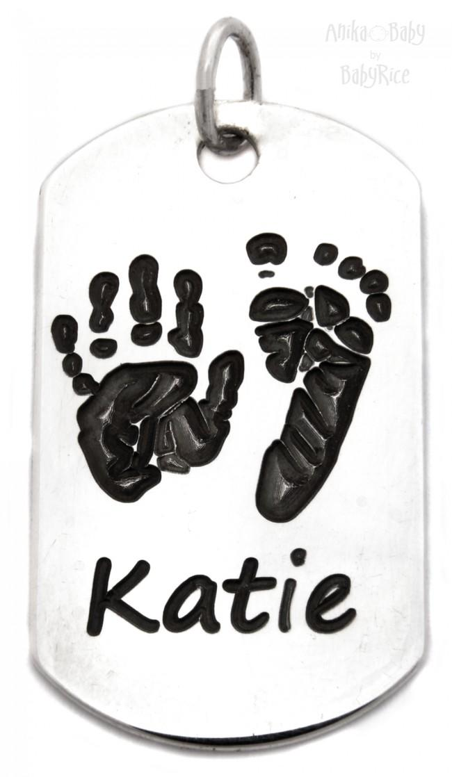 Sterling Silver Dogtag Baby Handprint Footprint Name