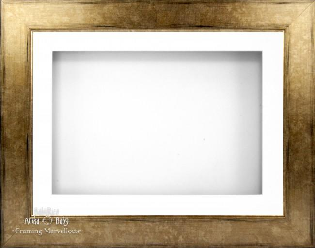 "11.5x8.5"" Bronze Brown 3D Deep Box Display Frame White Mount"