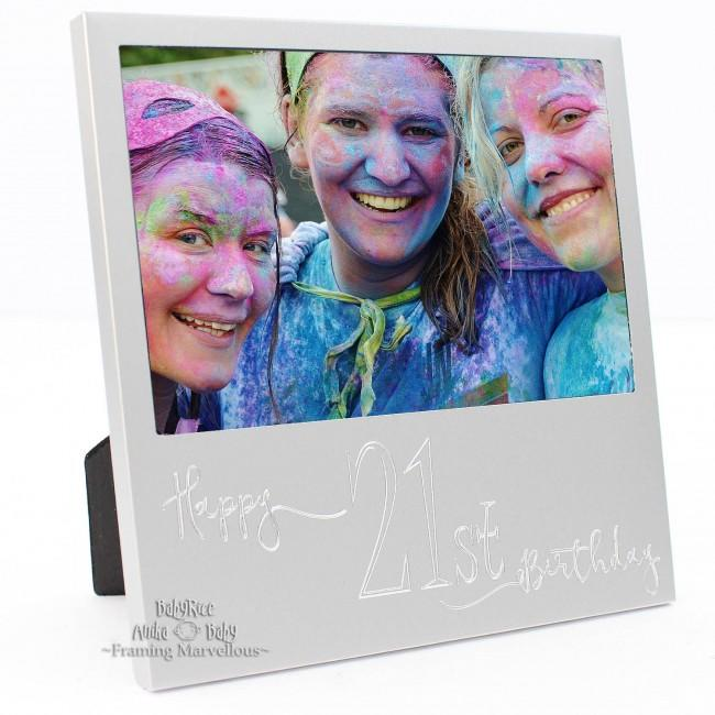 New Engraved Silver 21st Birthday Photo Frame