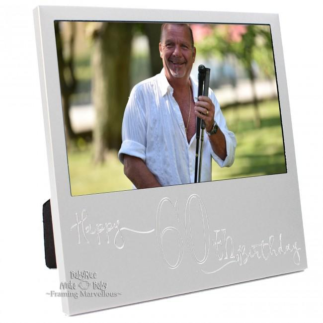 New Engraved Silver 60th Birthday Photo Frame