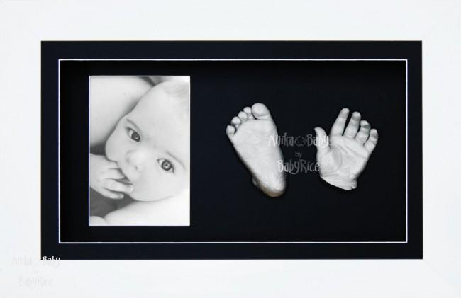Silver Baby Hand Foot 3D Prints Casting Kit Gift Set White Frame