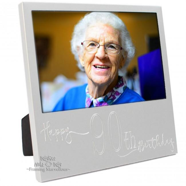 New Engraved Silver 90th Birthday Photo Frame