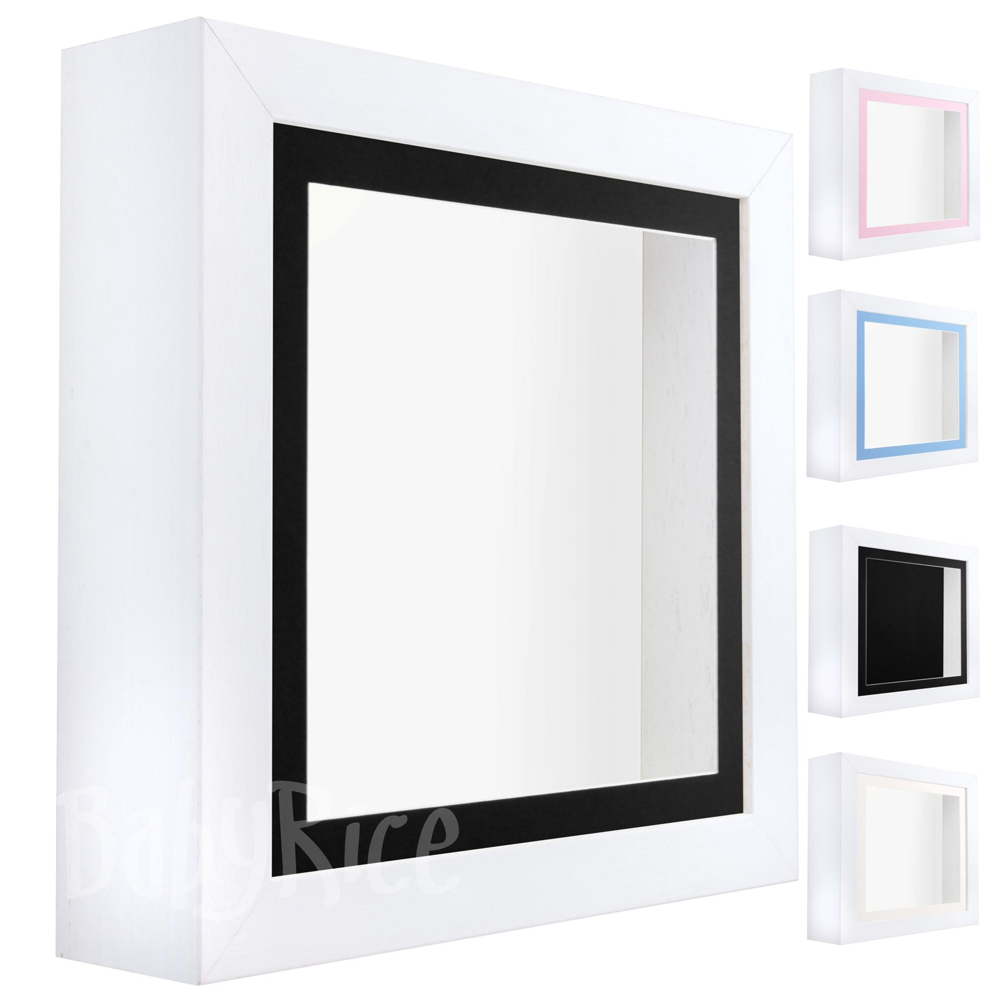 White Shadow Box Deep Display 3D Wooden Frame Square Black Front / White Back