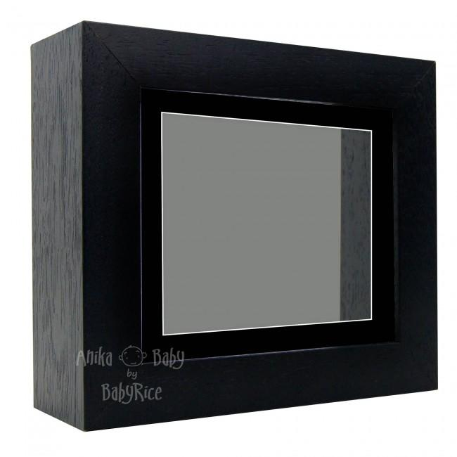 "Deluxe Black Deep Box Frame 6x5"" with Black Mount and Grey Backing"