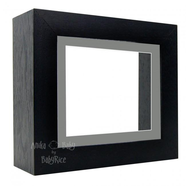 "Deluxe Black Deep Box Frame 6x5"" with Grey Mount and White Backing"