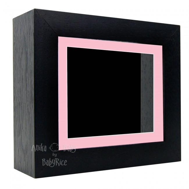 "Deluxe Black Deep Box Frame 6x5"" with Pink Mount and Black Backing"