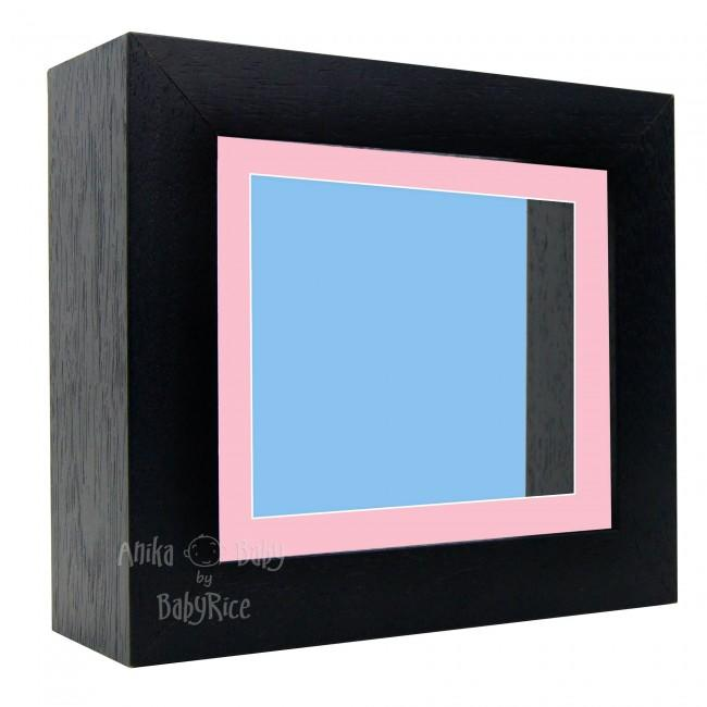 "Deluxe Black Deep Box Frame 6x5"" with Pink Mount and Blue Backing"