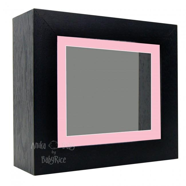 "Deluxe Black Deep Box Frame 6x5"" with Pink Mount and Grey Backing"