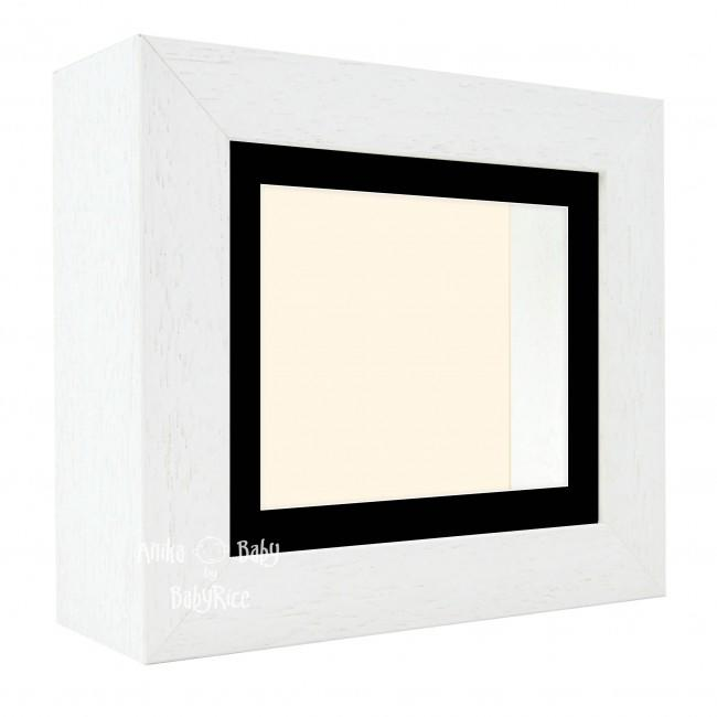 "Deluxe White Deep Box Frame 6x5"" with Black Mount and Cream Backing"