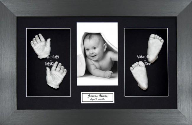 Twin Babies Large Baby Gift 3D Hand Foot Silver Casting, Pewter Frame