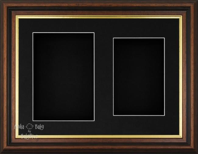 "11.5x8.5"" Mahogany Gold Effect 3D Display Frame 2 Hole Black Mount"