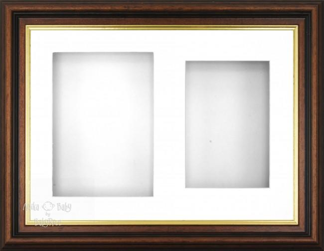 "11.5x8.5"" Mahogany Gold Effect 3D Display Frame 2 Hole White Mount White Back"