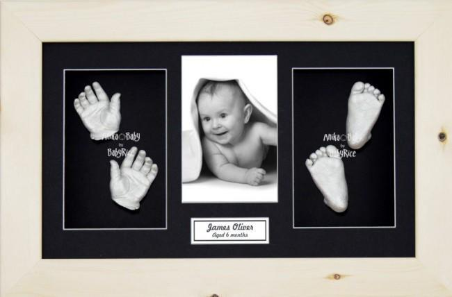 3D Baby Casting Kit Gift Set, Natural Pine Photo display Frame, Silver