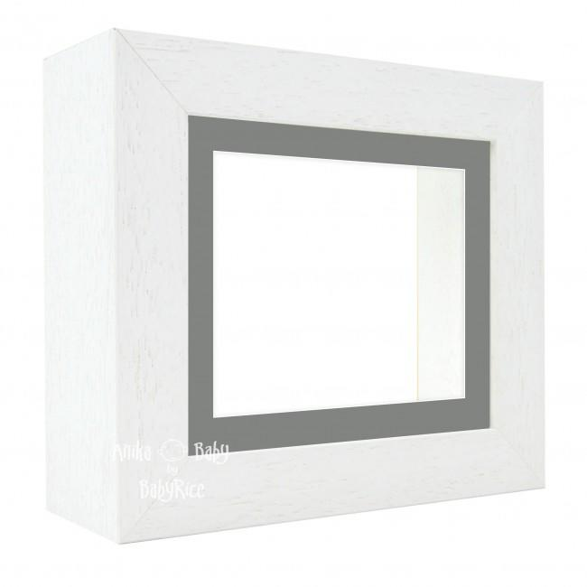 "Deluxe White Deep Box Frame 6x5"" with Grey Mount and White Backing"