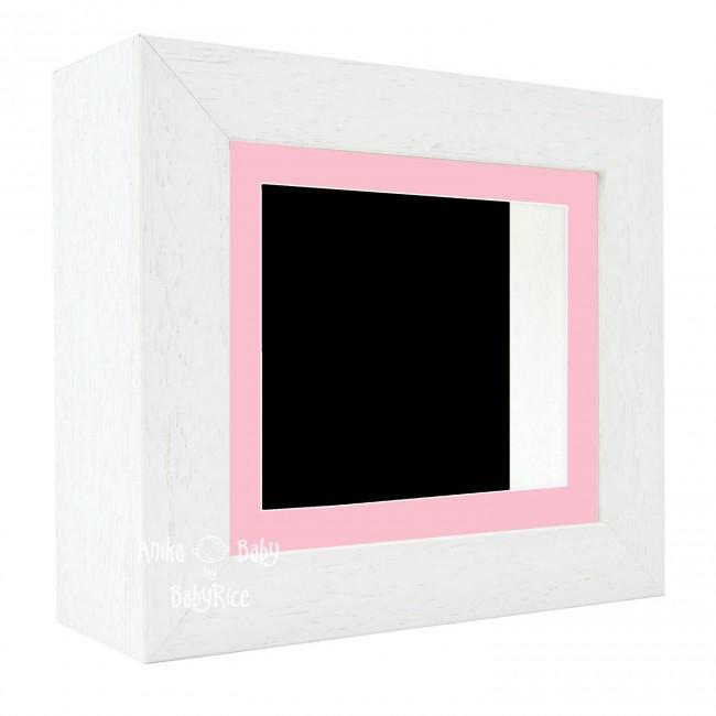 "Deluxe White Deep Box Frame 6x5"" with Pink Mount and Black Backing"