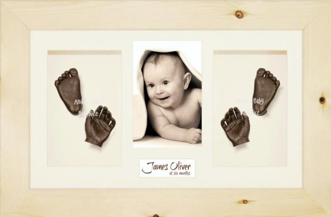 3D Baby Casting Kit Gift Set, Natural Pine Photo display Frame, Bronze