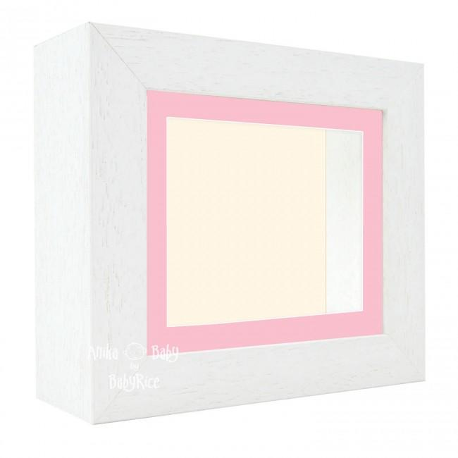 "Deluxe White Deep Box Frame 6x5"" with Pink Mount and Cream Backing"