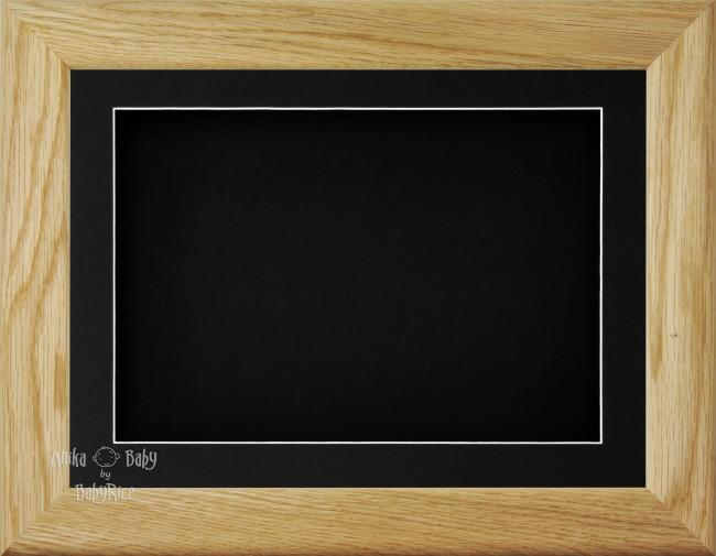 "11.5x8.5"" Solid Oak Wood 3D Display Frame 2 Hole Black Mount Black Back"