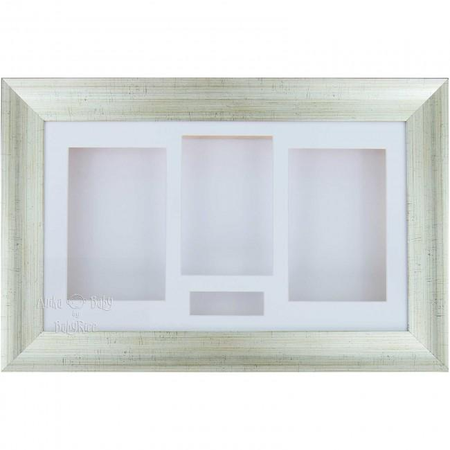 "15x9"" Antique Silver 3D Shadow Box Display Frame / White"
