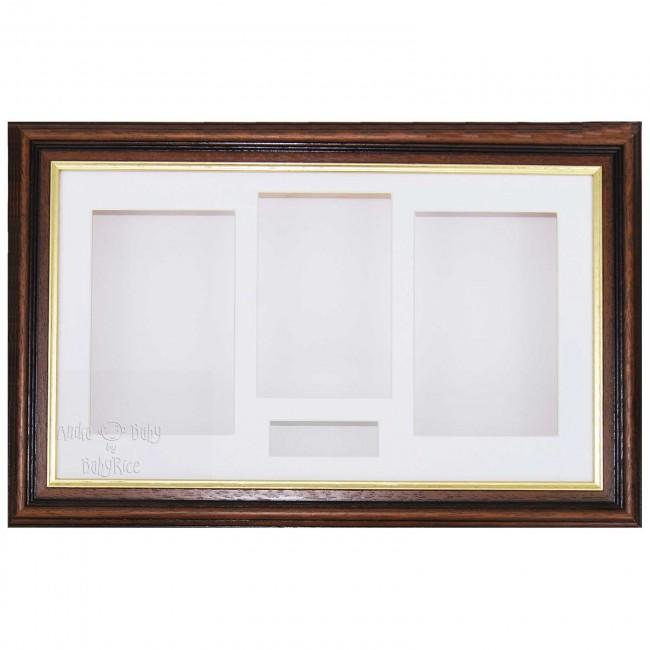 "15x9"" Mahogany/Gold Trim 3D Shadow Box Display Frame / White"