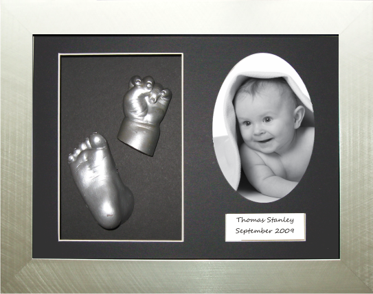 Baby 3D Casting Kit, Silver Oval Photo Frame, Hand Foot Casts