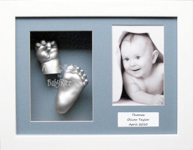 "Baby Casting Kit / 11.5x8.5"" White frame / Blue mount / Silver"