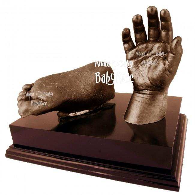 "Baby Casting Kit with Bronze paint and 6x4"" Mahogany effect Plinth"