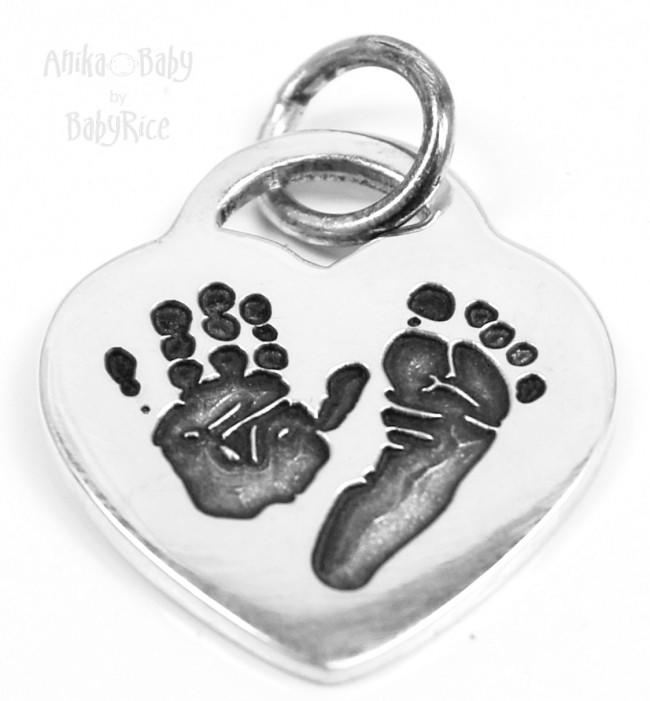 Baby Child Handprints Footprints Solid Sterling Silver Heart Charm Oxi