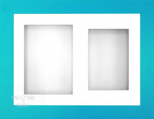 "11.5x8.5"" Blue Effect 3D Display Frame 2 Hole White Mount White Back"