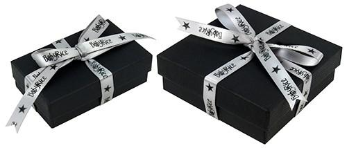 BabyRice Black Gift Box, Silver Ribbon packaging