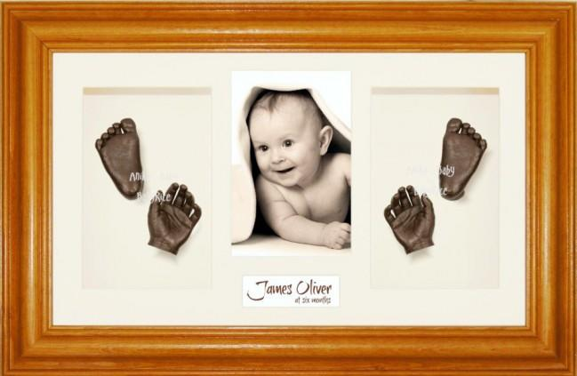 Baby Handprint Footprint Casting Kit, Honey Pine Frame, Bronze Paint