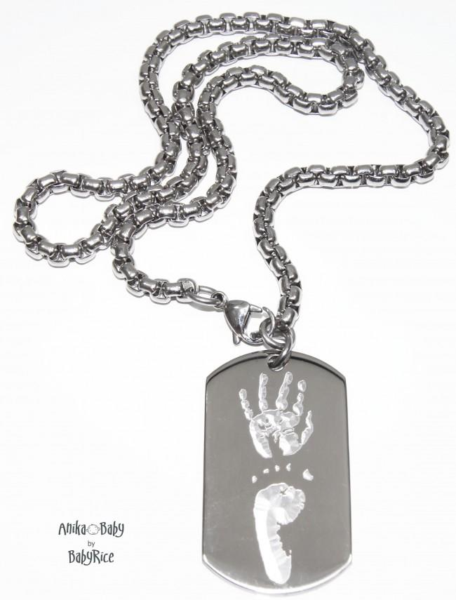 Baby Imprints Footprint Jewellery Dogtag Square Chain Necklace S/Steel