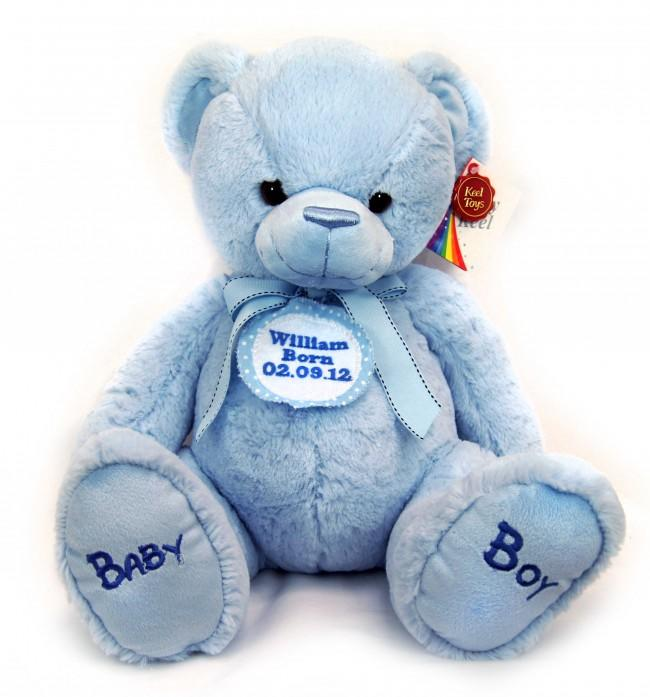 Personalised Blue Spotted Badge Blue Teddy Bear 35cm