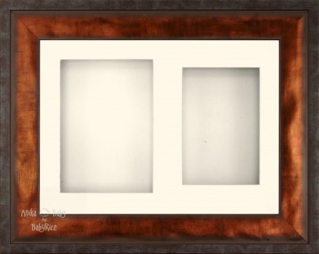 "12x9"" Urban Bronze 3D Display Frame 2 Hole Cream Mount Cream Back"