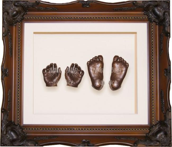 Baby Casting Kit, Walnut Gold Rococo Decorative Frame, Bronze Casts